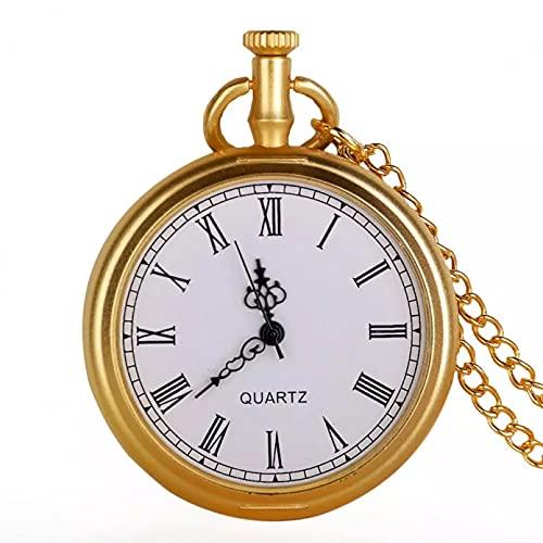 FZSWD Reloj de Bolsillo de Cuarzo con Colgante de Collar de Diseño Dorado de Cara Abierta Regalos para Hombre Y Mujer