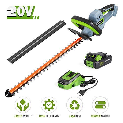 WORKPRO Taille-Haie sans Fil 20V avec Batterie 2Ah et Chargeur Rapide, Taille-Haie Electrique -...