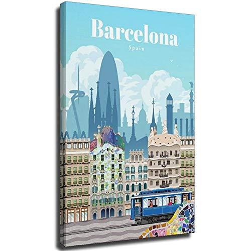 Barcelona Kunstdruck auf Leinwand, Vintage-Reiseposter, Bild für Zuhause, Büro, dekorative Poster, 40 x 60 cm, ohne Rahmen, 20 x 30 cm