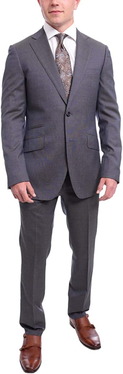 Napoli Slim Fit Blue with Purple Hue Pindot Half Canvassed Guabello Wool Suit