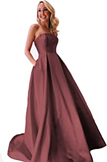 ANGELWARDROBE Women's A Line Strapless Empire Formal Evening Dress Long Prom Gown with Pockets