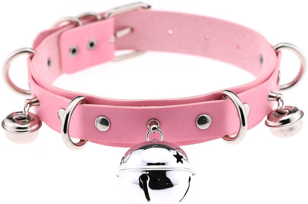 XULIANSEN Punk Leather Bell Choker Collar Necklace Cat Bell Collar Cosplay Bell Pendant Neckband Collar Choker Necklace