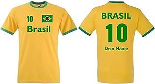 Fruit of the Loom Brasilien Herren T-Shirt Retro Trikot Wunschname & Nummer