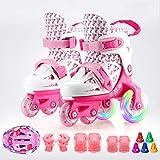 シャイニーキッズローラースケート調節可能なクワッドローラースケート三角形の安定性ブーツ子供用ローラースケート、複数の色をデザイン,ピンク,M