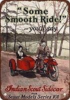 1928年のインドの偵察者のオートバイおよびサイドカーを見るのヴィンテージは複製金属の印