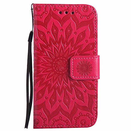 Coque Galaxy S5 Mini, Dfly [Datura Fleurs de Motif] [Stand de Portefeuille] [Fermeture Magnétique] Protecteur Coque Ultra Mince PU Cuir Etui Fente avec Carte Cas pour Samsung Galaxy S5 Mini, Rouge