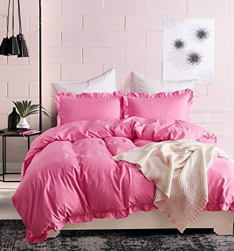 ELEH Juego de ropa de cama con volantes rosas de 3 piezas (1 funda nórdica y 2 fundas de almohada) 100% microfibra de poliéster con cremallera, funda de edredón (rosa, 200 x 220 cm + 2 x 80 x 80 cm)