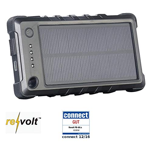 reVolt Solarladestation: Wetter- & stoßfeste Solar-Powerbank PB-80.s mit 8.000 mAh, IP65 (Solar Powerbank für Handy)