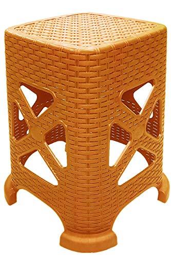 Kaiser-Handel - 2 taburetes de plástico, taburete de camping con diseño de ratán trenzado. Taburete de ducha estable, Muebles de jardín, terraza RH, marrón