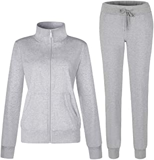 Women's Solid Cotton Sweatsuit 2Piece Sport Active Casual Long Sleeve Sweatshirt & Sweatpant Zip up Outfit Tracksuit