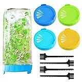 Coperchi per germogliare, 4 pezzi in plastica con 4 pezzi di spazzole per la pulizia in rete, coperchio per germogliare vasetto coperchio coperchio per bocca larga per germogli di fagioli, erba medica