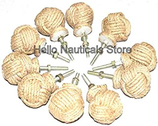 Jute Rope Door Knobs/Rope Knot Drawer Pulls and Knobs/Pull and Push Handle Knobs for Cabinets, Wardrobes & Cupboards/Nautical Hardware Decor, 35 mm (10)