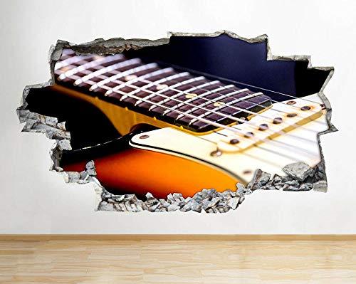 Pegatina Pared -- Banda de música de guitarra eléctrica -- 3D Wall Poster Vinyl Mural Pegatinas Sala de niños Decoración de viveros Dibujos Animados Papel Pintado 60X90CM