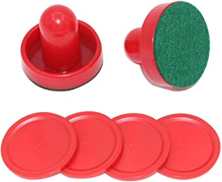 MUZOCT Great Goal Handles Pushers Replacement Accessories for Game Tables - 2 Red Air Hockey Pushers and 4 Red Pucks for C...