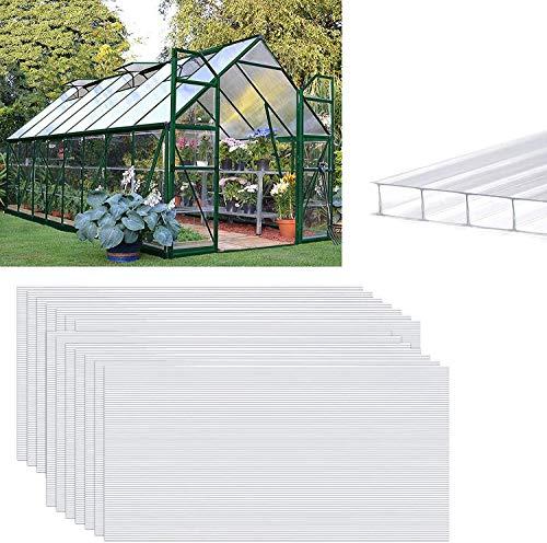YUFF 14 planchas alveolares de policarbonato de cámara hueca de 4 mm, 10,25 m², para jardín, en diferentes tamaños, 1210 x 605 x 4 mm, placa alveolar doble, resistente a los rayos UV (transparente)