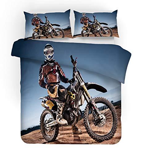 GDGM Juego de ropa de cama juvenil con diseño deportivo extremo en 3D Offroad Moto, funda nórdica con diseño deportivo extremo, adecuado para jóvenes (A4,155 x 220 cm + 75 x 50 cm x 2)