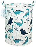 LANGYASHAN Storage Bin,Canvas Fabric Collapsible Organizer Basket for Laundry Hamper,Toy Bins,Gift Baskets, Bedroom, Clothes,Baby Nursery (Full Dinosaur)