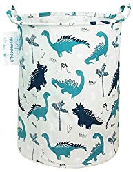 1. LANGYASHAN Canvas Collapsible Dinosaur Laundry Basket