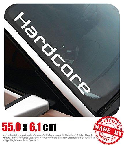 Hardcore Frontscheibenaufkleber 55,0 cm x 6,1 cm Auto Aufkleber JDM OEM Tuning Sticker Decal 30 Farben zur Auswahl