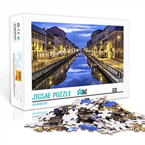 YITUOMO 1000 Pezzi Puzzle per Adulti Set di Puzzle Canale Naviglio Grande la Sera, Milano, Italia Puzzle Classico Gioco di Puzzle impegnativo , Ottima Scelta di Regali 38x26 cm
