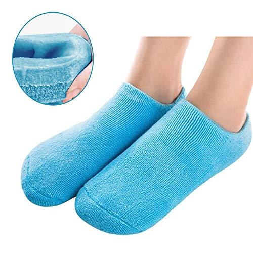 Calcetín Suavizante Spa Gel Calcetines para la piel agrietada Hidratante. Pedicura (Azul)
