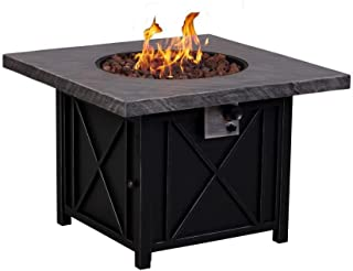 Afterglow Cottage 34 in. Square Terrafab Slate Look Top with Steel Base Propane Gas Fire Pit