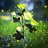 Lámparas solares para exteriores, con 5 rosas, luces decorativas para jardín, césped, terraza, patio, camino, acera, decoración, impermeable (amarillo)