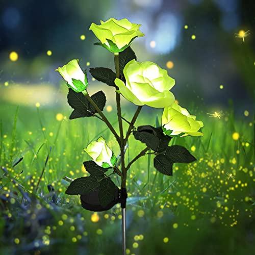Solarleuchten für den Außenbereich,LED solarbetrieben mit 5 Rosen dekoration Lichter für Garten, Rasen, Terrasse, Hof, Weg, Gehweg, Dekoration, wasserdicht (gelb)
