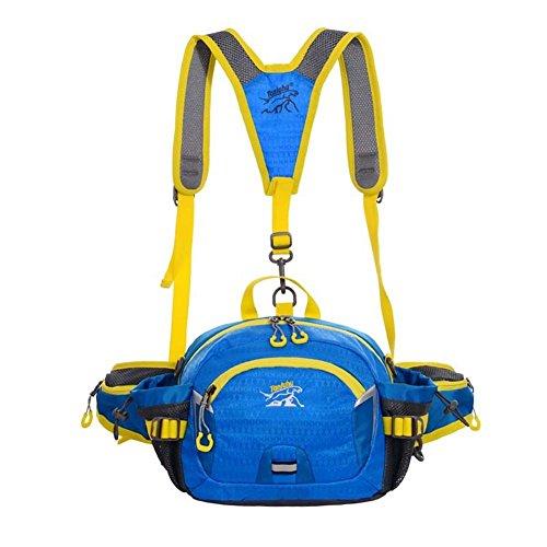 Wandern Bauchtasche, Mini Rucksack mit Flaschenhalter für Camping Klettern Travel Radfahren und Tagesrucksack, blau
