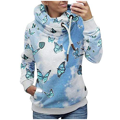 Sudaderas Mujer Baratas sin Capucha Jersey de Cuello de Bufanda con cordón con Estampado de Flores para Mujer Suéter de Manga Larga de Gran tamaño Tops otoño Invierno (Azul, M)