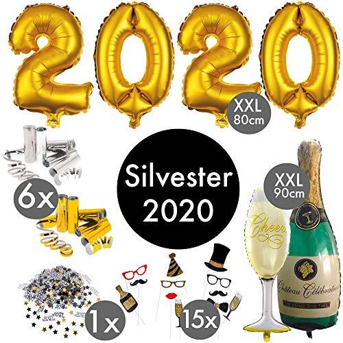 Silvester Decoratieset 2020 XXL | Party Set meer dan 100 delen | Reusachtige cijferballonnen 80 cm champagne en champagne ballon fotorekwisieten luchtslingers confetti | Tafel-decoratie Happy New Year Nieuwjaar