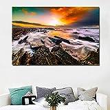 SADHAF Pintura marina de impresiones en lienzo de piedra impresas en alta definición sobre lienzos y murales de pintura decorativa A4 60x80cm