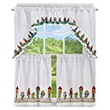 United Curtain Three Piece Tier Set Color: White/Birdhouse