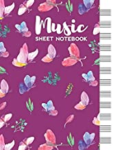 Music Sheet Notebook: Blank Staff Manuscript Paper with Cute Butterflies Themed Cover