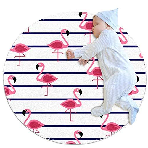 Ligne Red Flamingo Tapis de jeu pour bébé Tapis modernes doux ronds pour les décorations de salle de plancher 70x70cm