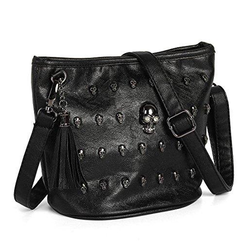 Minetom Damen Franse PU-Leder Tasche Schultertasche Umhängetasche Schädel verzierte PunkGoth Kuriertasche Handtasche Einkaufstasche Cross Body Bag (Schwarz)