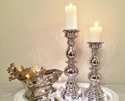 DRULINE Kerzenleuchter Kerzenhalter Aladdin 2er set Größe, 32/38cm Antik Kerzenständer Kerzeneinsatz Stumpenkerzen Tafelkerze Taufkerzen Kommunionkerzen Heimdekoration Teelichthalter Dekoration silber
