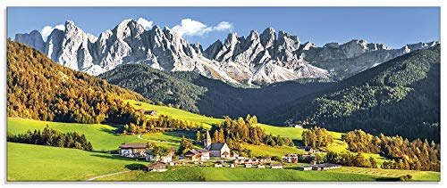 Artland Glasbilder Wandbild Glas Bild einteilig 125x50 cm Querformat Alpen Landschaft Berge Natur Italien Santa Maddalena Grün U1TF