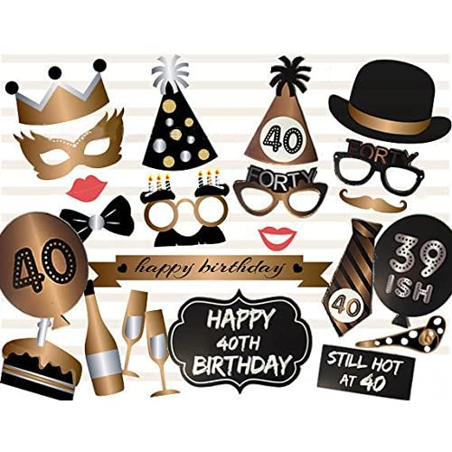 Veewon 40th Birthday Photo Booth Props Party Favor Kit