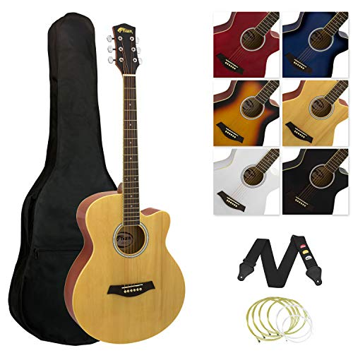 Tiger ACG3 Full Size Acoustic Beginners Guitar Package with Gig Bag, Strap...