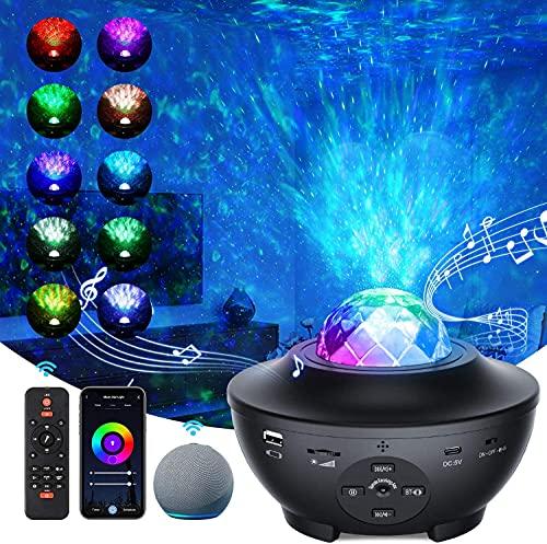 「2021最新WIFIスマート版」スタープロジェクターライト プラネタリウム 部屋用 ベッドサイドランプ APP/Alexa/Google homeで制御 2in1投影効果 21種ライト効果 一台二役 音楽再生機能 タイマー機能付き 音声制御 音量/明るさ/波紋回転スピード調整可 投影ランプ ベッドサイドランプ 雰囲気作り クリスマス/ハロウィン/パーテイー飾り/プレゼント/誕生日ギフト 日本語説明書付き