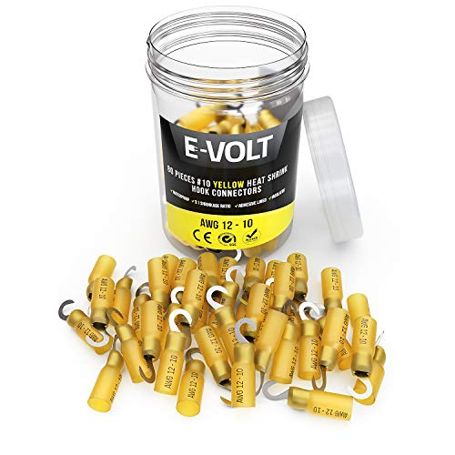 E-VOLT 80 Hook Wire Connectors – 3:1 Yellow Adhesive Heat Shrink Tube Crimp Terminals for 12-10 Gauge Wires – Industrial Grade Insulated Wire Crimps for Marine, Automotive and Audio Use