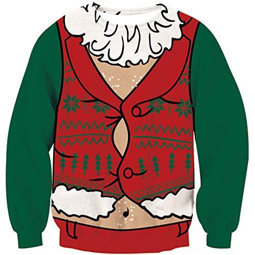 Goodstoworld Disfraz de Navidad Mujer Hombre Perro 3D Christmas Sweater Ropa Divertida Elfo Impreso Jerseys Traje Navideño M