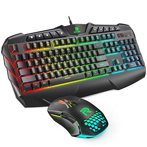 RUNMUS Gaming Keyboard Mouse Combo 25 Anti-ghosting Keys RGB Backlit USB Wired Gaming Keyboard with Comfortable Wrist Rest, 6400 DPI Programmable Bright Gaming Mouse for PC, Laptop Work and Game