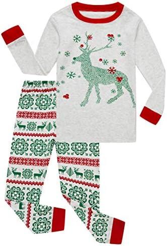 Family Feeling Little Girls Boys Long Sleeve Christmas Pajamas Sets 100 Cotton Grey Holiday product image