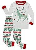 Family Feeling Little Girls Boys Long Sleeve Christmas Pajamas Sets 100% Cotton Grey Holiday Pyjamas Kids Pjs Size 6 Reindeer