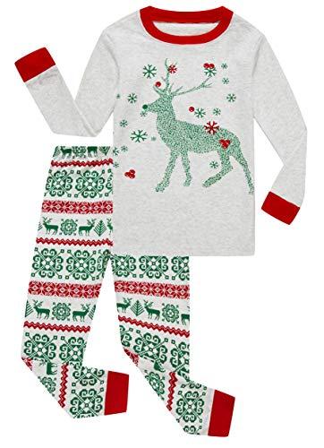 Family Feeling Little Girls Boys Long Sleeve Christmas Pajamas Sets 100% Cotton Grey Holiday Pyjamas Toddler Kids Pjs Size 3T Reindeer