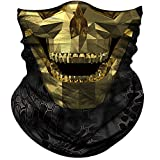 Obacle Face Mask Half Sun Dust Wind Protection Durable Tube Face Mask Bandana Skull Skeleton Face Mask for Men Women Bike Riding Motorcycle Fishing Cycling (Skull Geometry Gold Face Open Mouth)