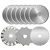 45mm Rotary Cutter Blades by KISSWILL - 10 Pack 45mm Rotary Cutting Blades Fits for Olfa Fiskars Martelli Truecut 45mm Rotary Cutter Replacement, Sharp and Durable Mix Pack Blades