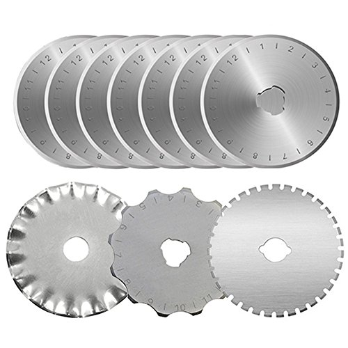 KISSWILL Rotary Cutter Blades 45mm - 10 Pack 45mm Rotary Blades Fits for Fiskars Olfa Martelli Truecut 45mm Cutter Replacement, Sharp and Durable
